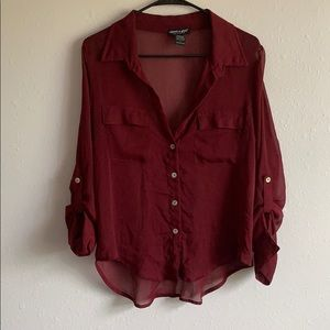 Burgundy See through Shirt with pearl buttons